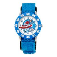 Marvel Captain America Children's 32mm Time Teacher Watch in Stainless Steel with Blue Nylon Strap