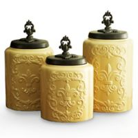 American Atelier 3-Piece Antique Canister Set in Cream