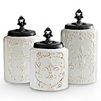 American Atelier 3-Piece Antique Canister Set in White