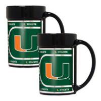 University of Miami Metallic Coffee Mugs (Set of 2)