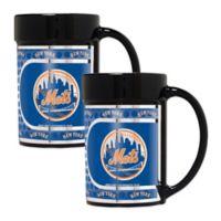 MLB New York Mets Metallic Coffee Mugs (Set of 2)