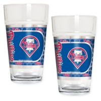 MLB Philadelphia Phillies Metallic Pint Glass (Set of 2)