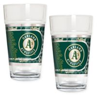 MLB Oakland Athletics Metallic Pint Glass (Set of 2)