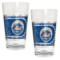 MLB New York Mets Metallic Pint Glass (Set of 2)