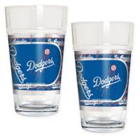 MLB Los Angeles Dodgers Metallic Pint Glass (Set of 2)