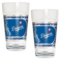 MLB Los Angeles Dodgers Metallic Pint Glass (Set of 2)
