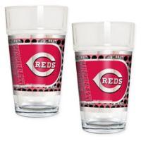 MLB Cincinnati Reds Metallic Pint Glass (Set of 2)