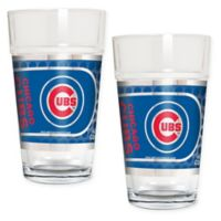MLB Chicago Cubs Metallic Pint Glass (Set of 2)