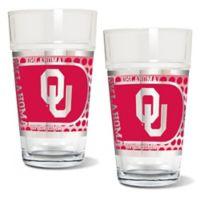 University of Oklahoma Metallic Pint Glass (Set of 2)
