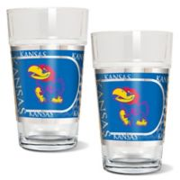 University of Kansas Metallic Pint Glass (Set of 2)