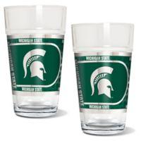 Michigan State University Metallic Pint Glass (Set of 2)