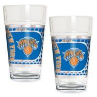 NBA New York Knicks Metallic Pint Glass (Set of 2)