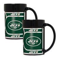 NFL New York Jets Metallic Coffee Mugs (Set of 2)