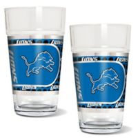 NFL Detroit Lions Metallic Pint Glass (Set of 2)