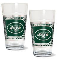 NFL New York Jets Metallic Pint Glass (Set of 2)
