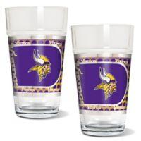 NFL Minnesota Vikings Metallic Pint Glass (Set of 2)