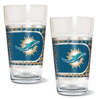 NFL Miami Dolphins Metallic Pint Glass (Set of 2)