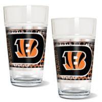 NFL Cincinnati Bengals Metallic Pint Glass (Set of 2)