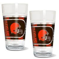 NFL Cleveland Browns Metallic Pint Glass (Set of 2)