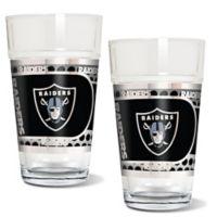 NFL Oakland Raiders Metallic Pint Glass (Set of 2)