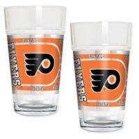 NHL Philadelphia Flyers Metallic Pint Glass (Set of 2)