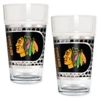 NHL Chicago Blackhawks Metallic Pint Glass (Set of 2)