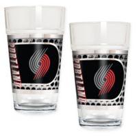 NBA Portland Trailblazers Metallic Pint Glass (Set of 2)