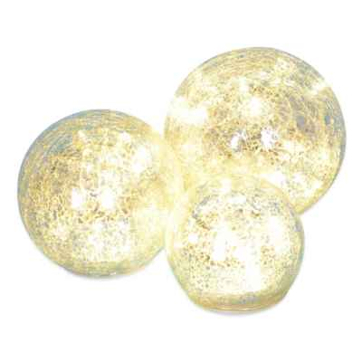 LED Crackle Glass Spheres (Set of 3)