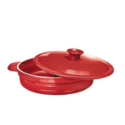 French Home 2.6 qt. Sauté Pan with Lid in Red