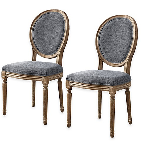 Shiraz linen oval back dining chairs set of 2 bed bath for Oval back dining room chairs