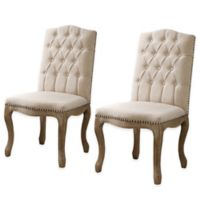 Shiraz Linen Tufted Wood Back Chairs in Natural (Set of 2)