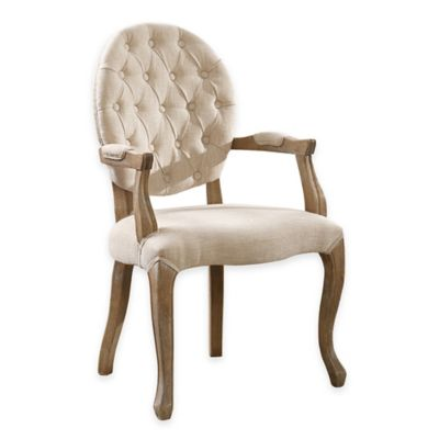 Shiraz Linen Oval Tufted Back Armchair In Natural