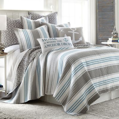 provincetown reversible king quilt in grey - Nautical Bedding