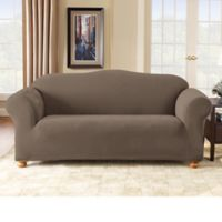 Sure Fit Stretch Pixel Corduroy 1 Piece Sofa Slipcover In Taupe