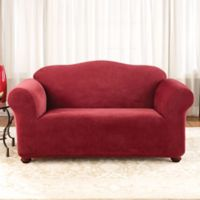 Sure Fit® Stretch Pixel Corduroy 1-Piece Loveseat Slipcover in Burgundy