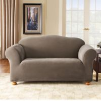 Sure Fit® Stretch Pixel Corduroy 1-Piece Loveseat Slipcover in Taupe