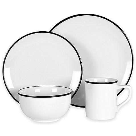 Everyday White 174 By Fitz And Floyd 174 Black Rim Dinnerware