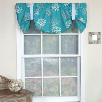 RL Fisher Cotton Deep Sea Tie Up Window Valance In Turquoise