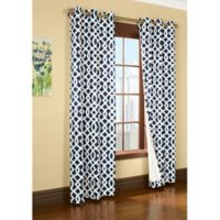 Commonwealth Home Fashions Trellis 84-Inch Room-Darkening Grommet Window Curtain Panels in Navy