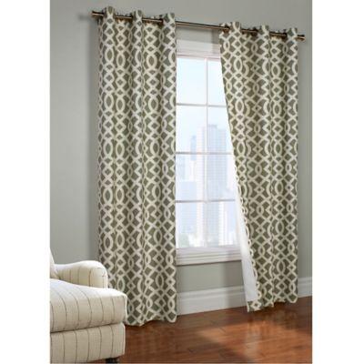 Commonwealth Home Fashions Trellis 63 Inch Room Darkening Grommet Window Curtain  Panels In Sage
