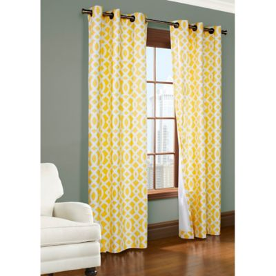 Commonwealth Home Fashions Trellis 63 Inch Room Darkening Grommet Window Curtain Panels In Yellow