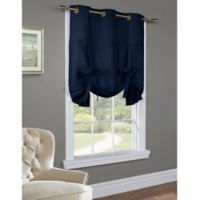 Commonwealth Home Fashions 63-Inch Room-Darkening Grommet Top Tie-Up Window Curtain Panel in Navy