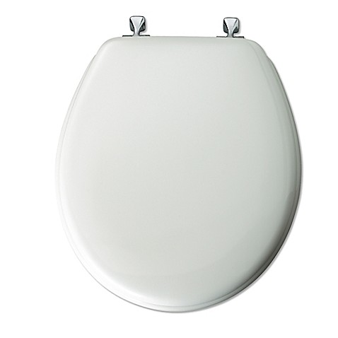 Mayfair 174 Round White Molded Wood Toilet Seat With Chrome