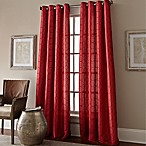 Manhattan 84-Inch Grommet Top Embroidered Window Curtain Panel in Red
