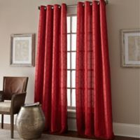 Manhattan 120-Inch Grommet Top Window Curtain Panel in Red