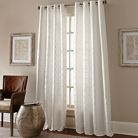 buy manhattan 120 inch grommet top window curtain panel in white from bed bath beyond. Black Bedroom Furniture Sets. Home Design Ideas