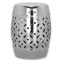 Safavieh Lattice Coin 18.5-Inch Garden Stool in Silver