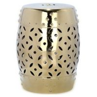 Safavieh Lattice Coin 18.5-Inch Garden Stool in Gold