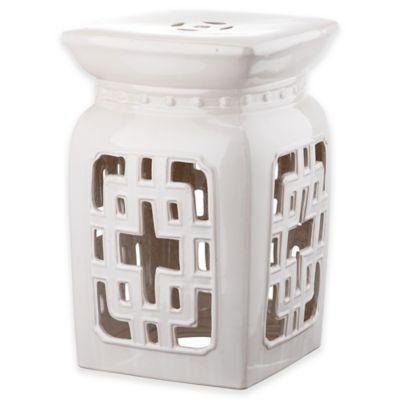 Safavieh Beijing Filigree 18 Inch Garden Stool In Cream