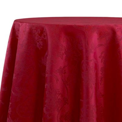 Christmas Ribbons 70 Inch Round Tablecloth In Ruby